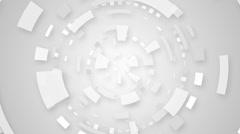 white techno circular segments loop background - stock footage