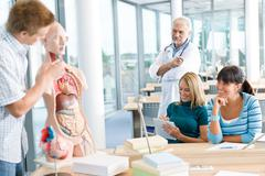 Medical students with professor and human anatomical model - stock photo