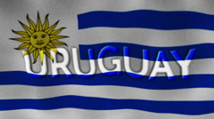 Uruguay Flag and Text, Textile Background Stock Footage