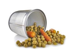 Stock Photo of a tin of peas and carrots