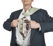 businessman showing fifty dollar bill superhero suit underneath his shirt - stock illustration