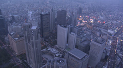 Aerial illuminated Tokyo Metropolitan Government Business district Japan Stock Footage