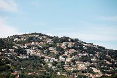 village on the mountainside - stock photo