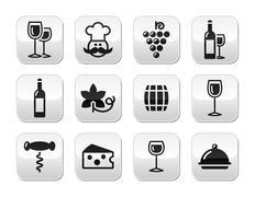 Wine buttons set - glass, bottle, restaurant, food - stock illustration