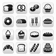 Bakery, pastry buttons set - bread, donut, cake, cupcake - stock illustration