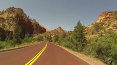 Zion NP drive POV fast motion HD Stock Footage