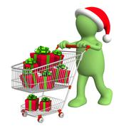 Consumer with shopping cart and gifts - stock illustration