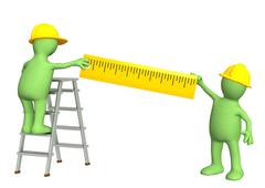 3d puppets - builders with ruler - stock illustration