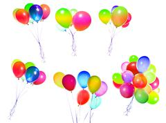 Flying balloons isolated Stock Photos