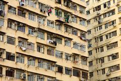 Old apartments in Hong Kong Stock Photos