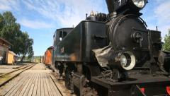 Steam Railroad steam locomotive slider close-up move Stock Footage