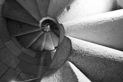 spiral stair going up. rotation of outdoor staircase ascending - stock photo