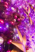 Christmas background with ball and flower Stock Photos