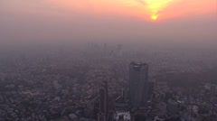 Stock Video Footage of Aerial Metropolis sunset Tokyo Roppongi Hills built structure Japan