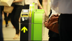 JR Yurakucho station ticket barrier, Tokyo, Japan Stock Footage