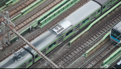 Above view of trains on a railtrack, Tokyo, Japan Stock Footage