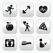 Keep fit and healthy buttons on glossy buttons Stock Illustration
