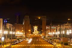 Espanya square in barcelona and national palace at night Kuvituskuvat