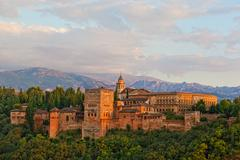 view of spain's main tourist attraction: ancient arabic fortress of alhambra, - stock photo