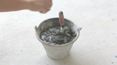 Cement mixing for house building Stock Footage