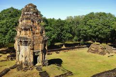 One brik tower of an Angkor temple Stock Photos