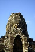 One tower of the Bayon temple - stock photo