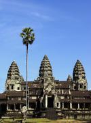 Three towers of Angkor Wat temple Stock Photos