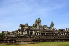 Wide corner view of Angkor Wat temple Stock Photos