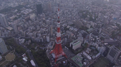 Stock Video Footage of Aerial Tokyo Tower skyline dusk built structure observation deck Minato Japan