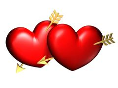 Heart couple with golden arrows Stock Illustration