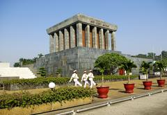 Three guards in front of Ho Chi Minh mausoleum Stock Photos