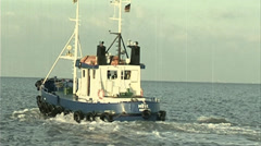 A cutter at sea - old film effect - color Stock Footage