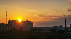 4K. Sunset over city timelapse Stock Footage