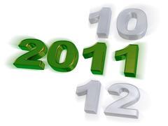 Green 2011 design on white background - stock illustration