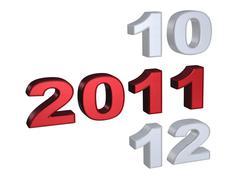 Big 2011 design on white background - stock illustration