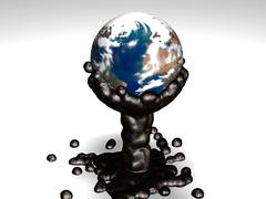 Earth dive into sticky oil - stock illustration