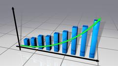 Bars and curve business chart - stock illustration