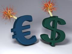 Big Euro and Dollar symbol that'll explode - stock illustration