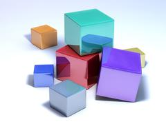 Multicolored cubes on white floor. - stock illustration