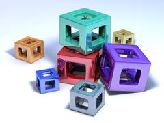 Cubes multicolored on a white floor - stock illustration