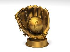 Golden baseball glove with ball Stock Illustration