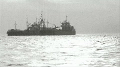 Two ships at sea - Old Film Effect - Black and White Stock Footage