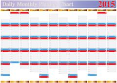 Daily monthly planing chart year 2015 Stock Illustration