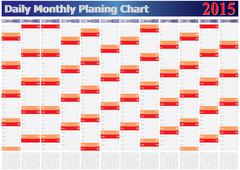 daily monthly planing chart year 2015 - stock illustration