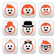 People with ginger vector hair buttons set - stock illustration