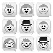 People with grey hair, seniors, old people icons set Stock Illustration