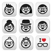 People wearing glasses, geeks icons set Stock Illustration