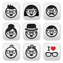 Stock Illustration of People wearing glasses, geeks icons set