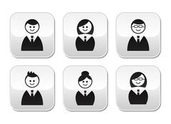 Users icons - glossy buttons set - stock illustration