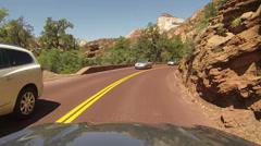 Traffic drive road Zion National Park Utah POV HD 319 Stock Footage